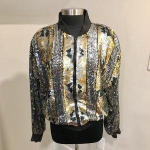 Vintage 90s Silver/Gold/Black Sequin Bomber Jacket